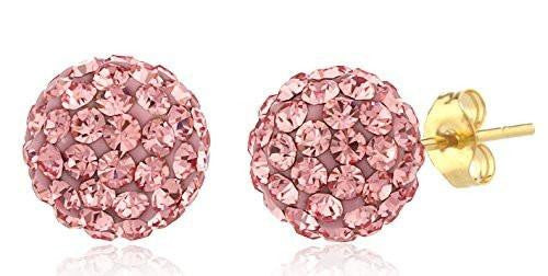 6 Pairs of 14K Yellow Gold 8mm Preciosa Crystals Stud Earrings with 14k Pushbacks - Available in Different Colors (Pink)