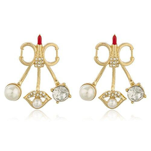 6 Pairs of Goldtone with Clear Stones Red Lipstick & Simulated Pearls Multi Charm Stud Earrings