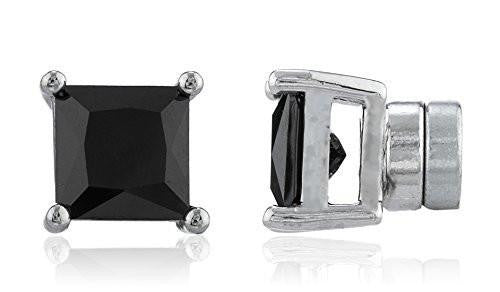 6 Pairs of Silvertone Magnetic Earrings with Black Cz Square - 4mm to 12mm (7 Millimeters)