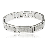 6 Pieces of Men's Goldtone Stainless Steel Silver Sandblast Rectangles 8.5 Inch Designer Bracelet with Snap Clasp