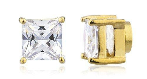 6 Pairs of Goldtone Magnetic Earrings with Clear Cz Square - 4mm to 12mm (7mm)