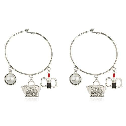 6 Pairs of Silvertone Thin 3 Inch Hoop Earrings with Lady Dangling Stone Charms