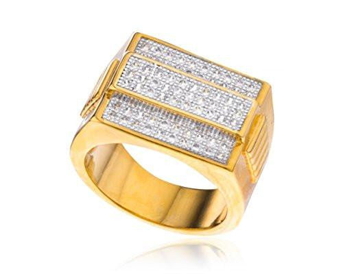 6 Pieces of Men's Goldtone 3 Row Rectangle Cz Layered Ring Sizes 10-11 (10)
