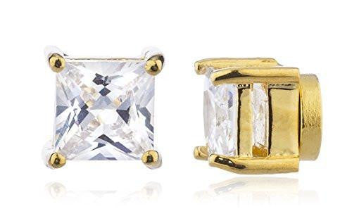 6 Pairs of Goldtone Magnetic Earrings with Clear Cz Square - 4mm to 12mm (6mm)