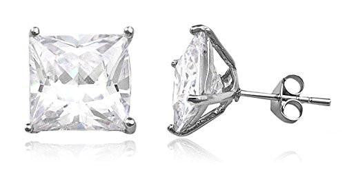 6 Pairs of Sterling Silver Stud Earrings with CZ Square Basket Setting (rhodium-plated-Silver Stud Earrings, 9 Millimeters)