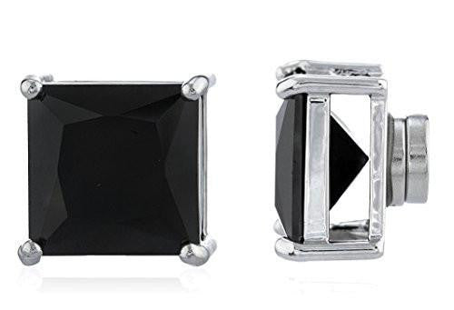 6 Pairs of Silvertone Magnetic Earrings with Black Cz Square - 4mm to 12mm (11 Millimeters)