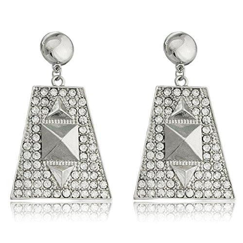 6 Pairs of Silvertone Egyptian Pyramid with Stones Dangling Stud Earrings