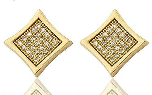6 Pairs of Mens Pair of Sterling Silver Stud Earrings Micro Pave Iced Out Goldtone Square Shaped