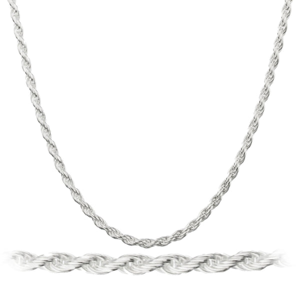 6 Pieces of 925 Italy Sterling Silver 2mm Rope Chain Nickel Free - (sterling-silver, 36 Inches)