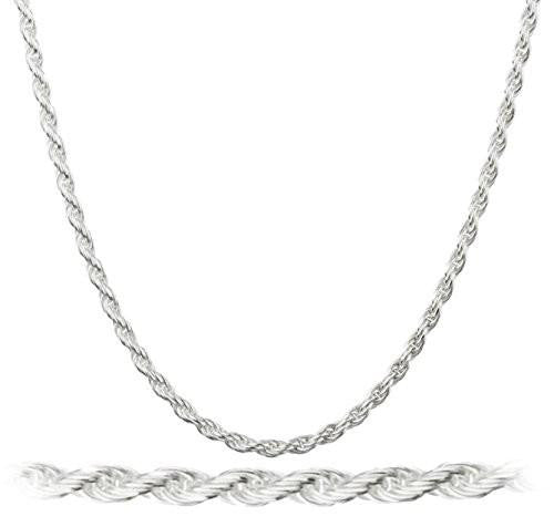 6 Pieces of 925 Italy Sterling Silver 2mm Rope Chain Nickel Free (sterling-silver, 30 Inches)