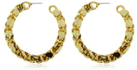 6 Pairs of Goldtone with Orange 2.25 Inch Braided Fabric with Cuban Link Earrings