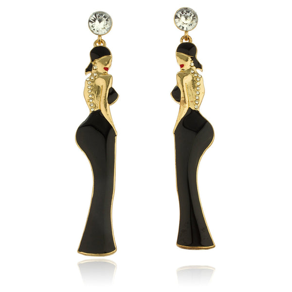 Clear Stone Studs With Black And Goldtone Dangling Women Posing Earrings