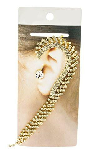 6 Pairs of Fancy Bridal Style Ear Cuff Earrings with Rhinestones (Goldtone)