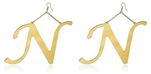 6 Pairs of Goldtone Letters of the Alphabet Drop Earrings (N)