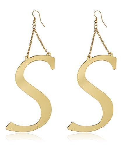 6 Pairs of Goldtone Letters of the Alphabet Drop Earrings (S)