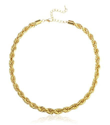 6 Pieces of Goldtone 18 Inch Thick Rope Chain Necklace (10 Millimeters)