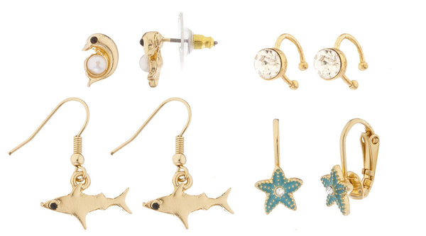 Goldtone 4 Pairs Of Assorted Sea Life Earrings