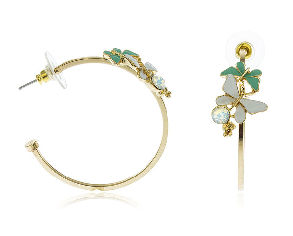 Goldtone Butterflies With Stone Open Ended Hoop Earrings (White/Light Blue)