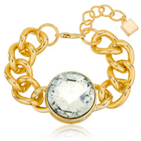 Goldtone 'Crystal Clear' Adjustable 7 Inch Miami Cuban Chain Bracelet