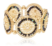Goldtone Filigree With Glass Beads Stretch Bracelet (Goldtone W/ Black)