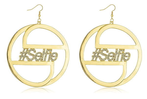 Goldtone Iced Out #Selfie 3 Inch Round Earrings