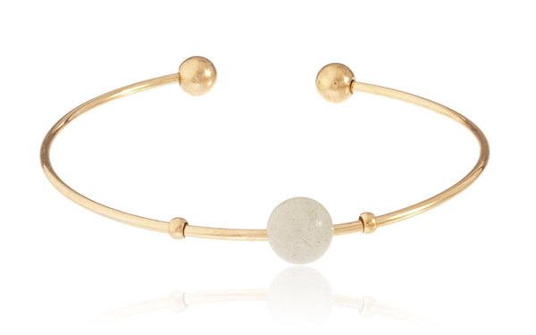 Goldtone Semi-Precious Ball Ended Arm Cuff With Centered Simulated Pearl (Powder Green)