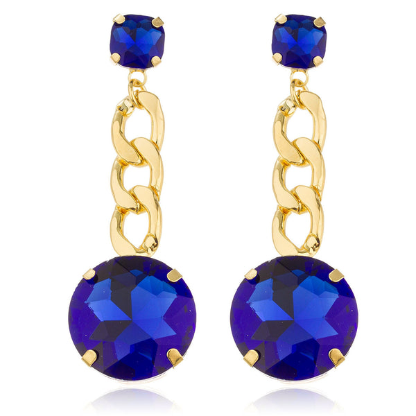 Goldtone With Blue 'Crystal Clear' 3 Inch Cuban Design Drop Earrings