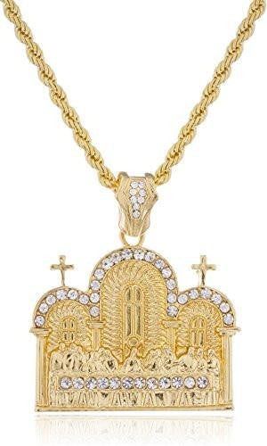 6 Pieces of Goldtone with Clear Stones Last Supper Pendant with a Rope Chain (36 Inches)