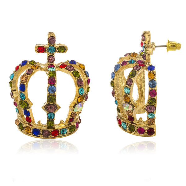 Ladies Goldtone Large Crown With Multi Color Stones Stud Earrings