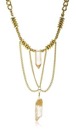 6 Pieces of Link Chain Necklace with Tassel and Stones (Goldtone w/ Peach)