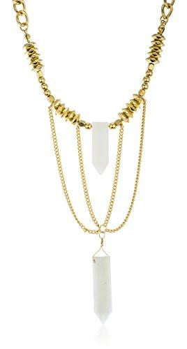 6 Pieces of Link Chain Necklace with Tassel and Stones (Goldtone w/ White)