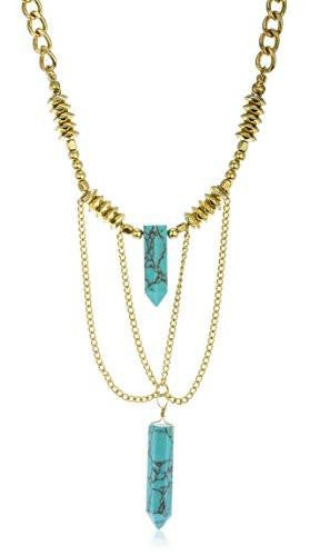 6 Pieces of Link Chain Necklace with Tassel and Stones (Goldtone w/ Turquoise)