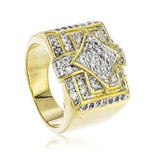Men's Goldtone Iced Out Square And Diamond Shapes Finger Ring Sizes 7-12