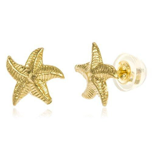 Real 14k Yellow Gold Baby Starfish Stud Earrings With Silicone Back