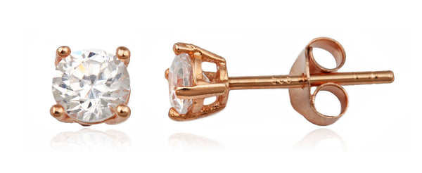 Real 925 Sterling Silver Clear Cz Stone Round Stud Earrings (rose-gold-and-sterling-silver, 5 Millimeters)