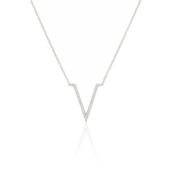 Real 925 Sterling Silver Cz Stone V Pendant Necklace