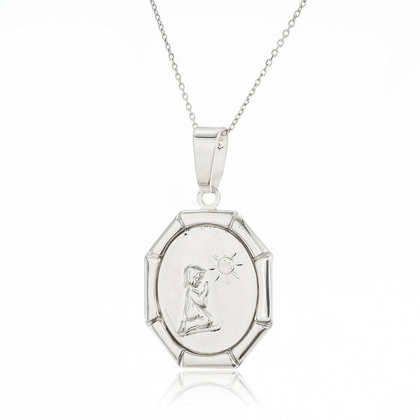 Real 925 Sterling Silver IHS First Holy Communion Praying Girl Pendant With An 18 Inch Chain Necklace