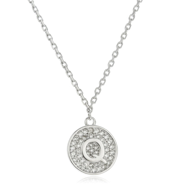 Real 925 Sterling Silver Micro Pave CZ Initial Pendant With A 16 Inch Necklace (Q)