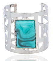 Silvertone Alternating Bar Design With Centered Simulated Pearl Cuff Bangle Bracelet
