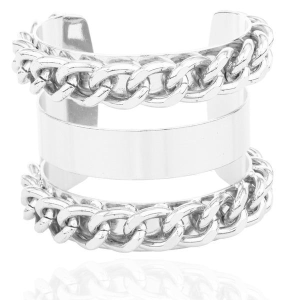 Silvertone Alternating Layered Chain Design Cuff Bangle Bracelet