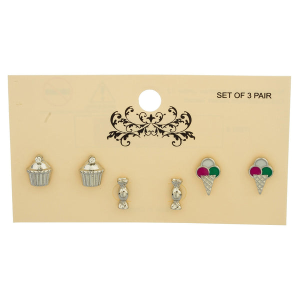 Silvertone Cupacke, Candy And Ice Cream Themed Three Pair Stud Earrings Set