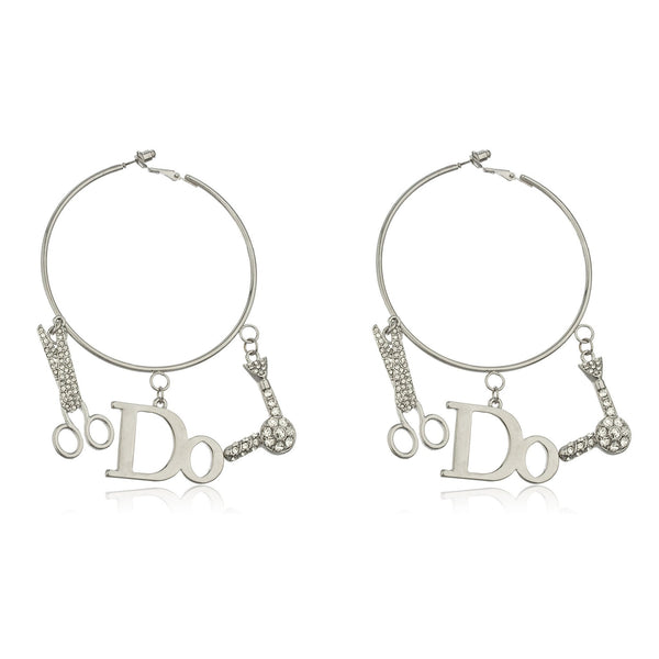Silvertone Thin 'I Do Hair' 2.75 Inch Hoop Earrings With Dangling Stone Charms