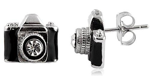Silvertone With Black Camera With Center Stone Lens Stud Earrings