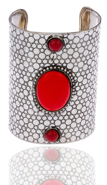 Silvertone With Red Antique Hammered Design 4 Inch Adjustable Cuff Bangle