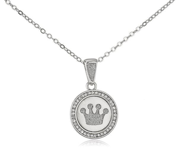 Stainless Steel Four Point Crown Sandblast Pendant On 19 Inch Link Necklace (Silvertone)