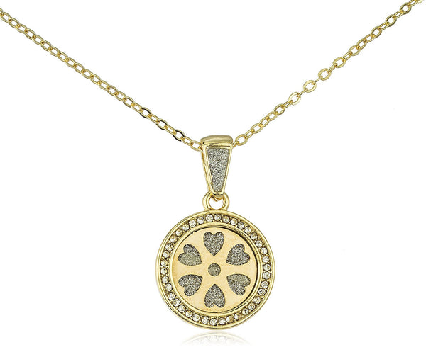 Stainless Steel Heart Wheel Sandblast Pendant On 19 Inch Link Necklace (Goldtone)