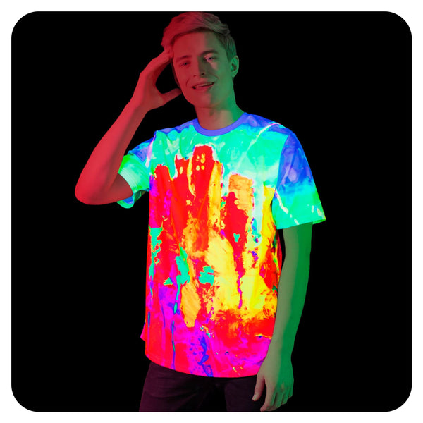 Acid Rave Shirt Mens Glow in Ultraviolet Fluorescent Drip City ts23