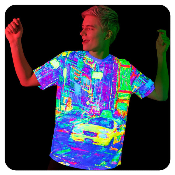 Black Light Tee Shirts Yellow Cab Glow in UV Fluorescent ts22