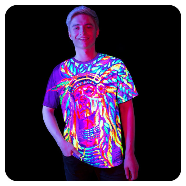 Blacklight Dance Shirts Nation Chief Glow in UV Fluorescent ts24