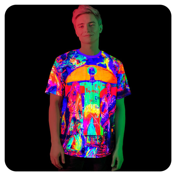 Blacklight Rave Shirt for Men Glow in UV Fluorescent Crazy House ts19